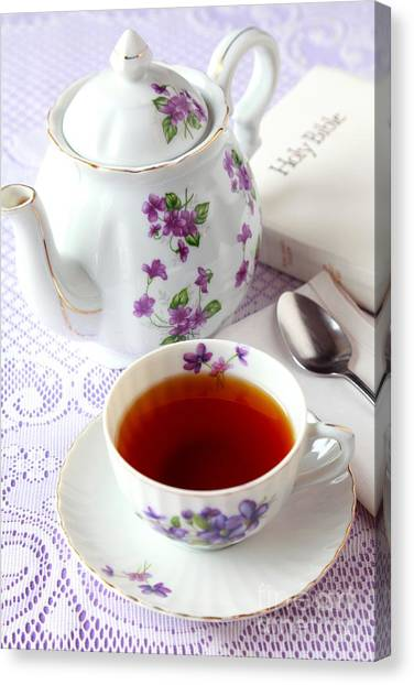 Tea Time With Bible Canvas Print