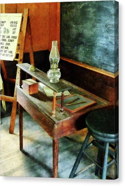 Teacher's Desk With Hurricane Lamp Canvas Print