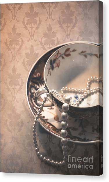 Saucer Canvas Print - Teacup And Pearls by Jan Bickerton