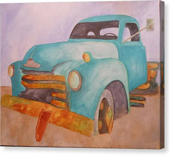 Teal Chevy Canvas Print