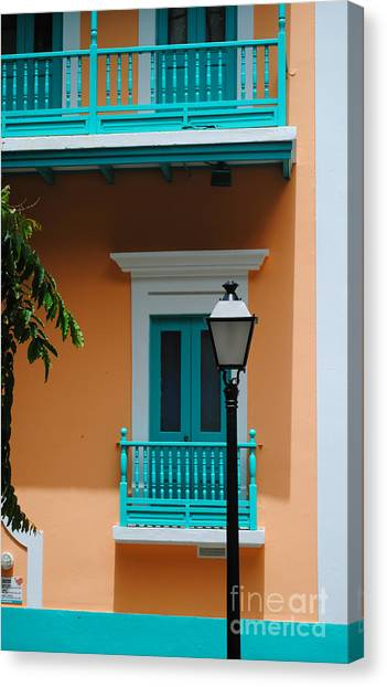 Teal With Pale Orange Canvas Print