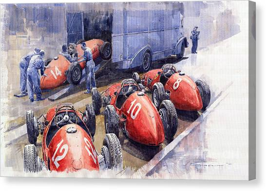 Ferrari Canvas Print - Team Ferrari 500 F2 1952 French Gp by Yuriy Shevchuk
