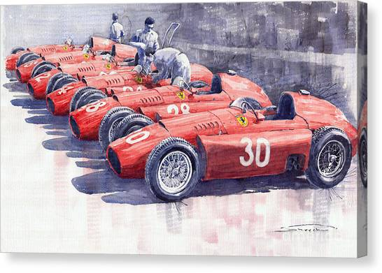 Sports Cars Canvas Print - 1956 Team Lancia Ferrari D50 Type C 1956 Italian Gp by Yuriy Shevchuk