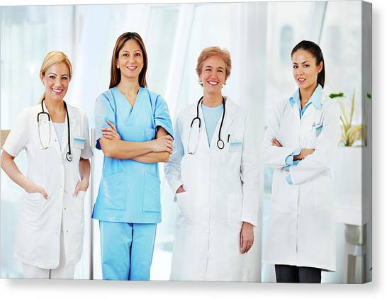 Team Of Female Doctors Canvas Print by Skynesher