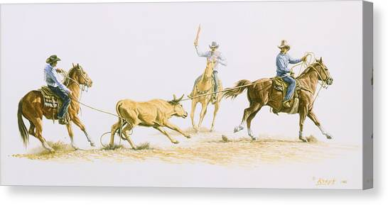 Cowboys Canvas Print - Team Roping by Paul Krapf