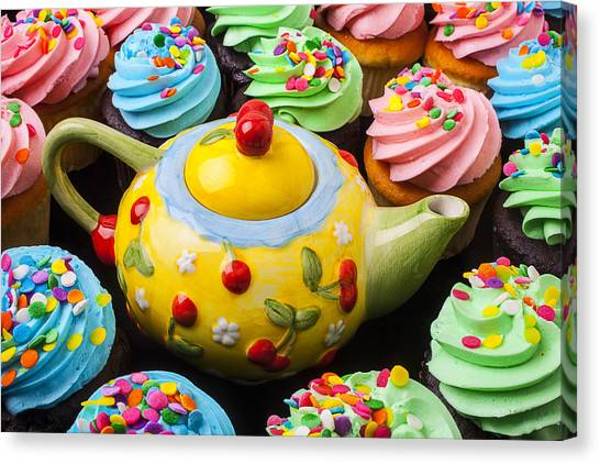 Frosting Canvas Print - Teapot And Cupcakes  by Garry Gay