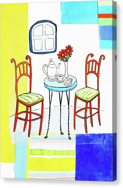 Teapot And Teacups On Table With Vase Canvas Print