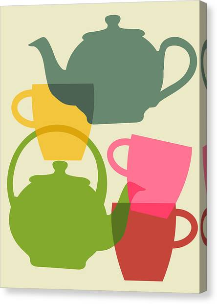 Tea Canvas Print - Teapot And Teacups by Ramneek Narang