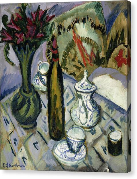 Tea Time Canvas Print - Teapot Bottle And Red Flowers by Ernst Ludwig Kirchner