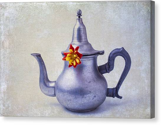 Tea Time Canvas Print - Teapot Dahlia by Garry Gay