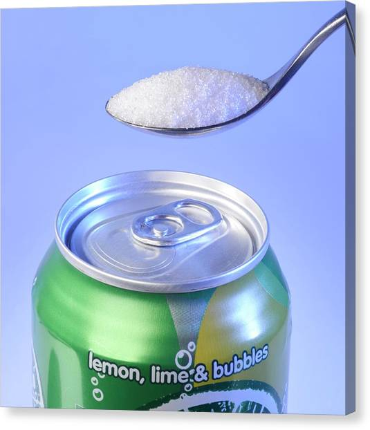 Diabetes Canvas Print - Teaspoon Of Sugar With Can Of Fizzy Drink by Cordelia Molloy