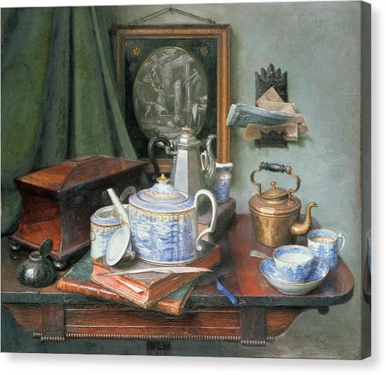 Tea Set Canvas Print - Teatime by Edward George Handel Lucas