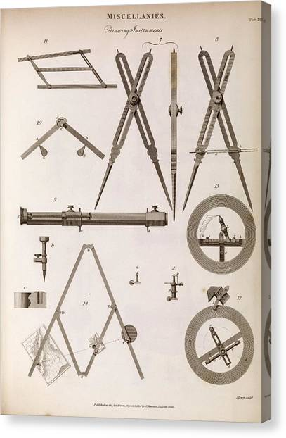 Protractors Canvas Print - Technical Drawing Devices by Middle Temple Library