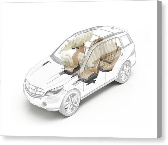 Technical Drawing Of Car Seats And Airbags Canvas Print by Leonello Calvetti/science Photo Library