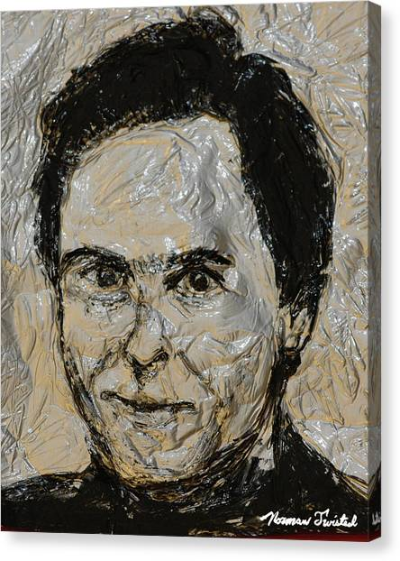 Ted Bundy Canvas Print - Ted Bundy In Black And White by Norman Twisted