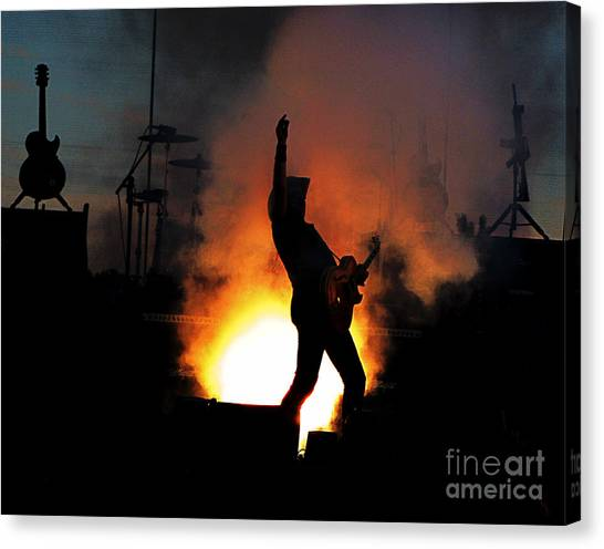 Ted Nugent On Fire Canvas Print