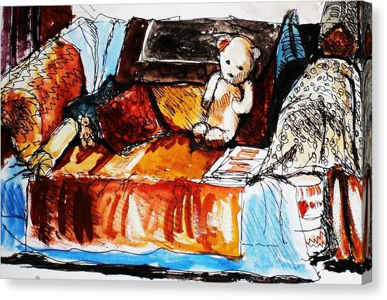 Ted On The Sofa Canvas Print by Anne Parker