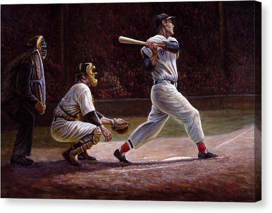Home Runs Canvas Print - Ted Williams At Bat by Gregory Perillo
