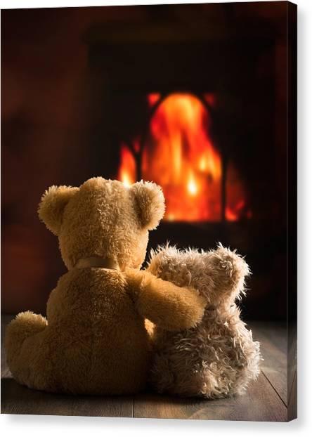 Teddy Bears Canvas Print - Teddies By The Fire by Amanda Elwell