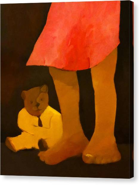Teddybear Canvas Print - Teddy And Girl by Lutz Baar