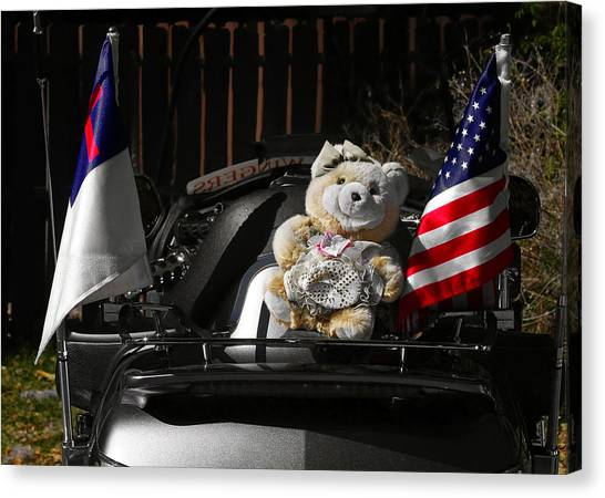 Teddybear Canvas Print - Teddy Bear Ridin' On by Christine Till