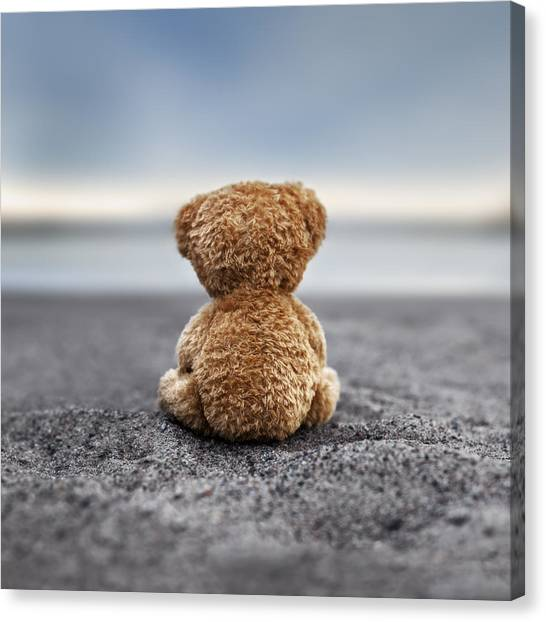 Teddy Bears Canvas Print - Teddy Blue by Marko Mastosaari