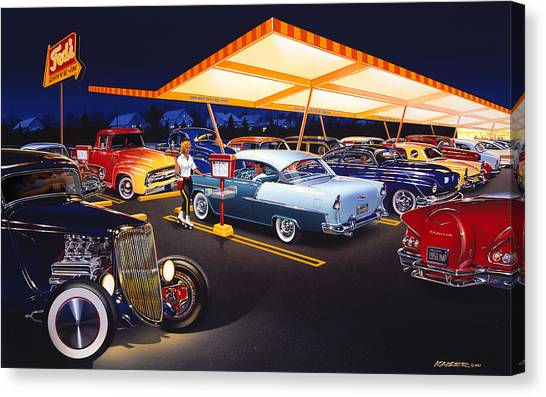 Diners Canvas Print - Teds Drive-in by Bruce Kaiser