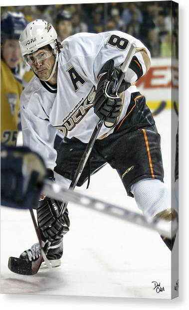 Anaheim Ducks Canvas Print - Teemu Selanne by Don Olea