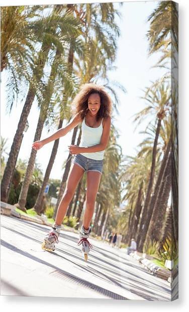 Rollerblading Canvas Print - Teenage Girl Rollerblading by Ian Hooton/science Photo Library