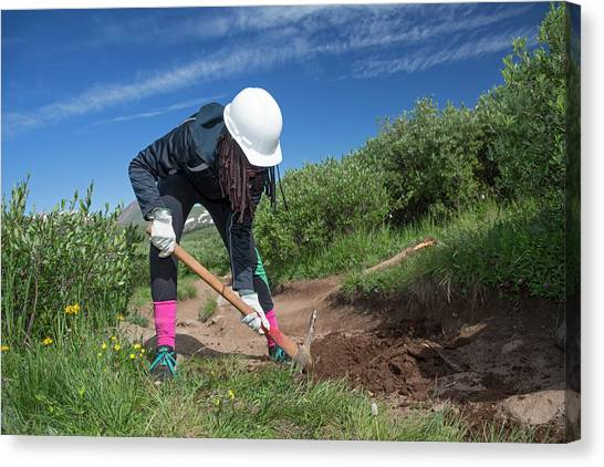 Hard Hat Canvas Print - Teenager Maintaining Hiking Trail by Jim West