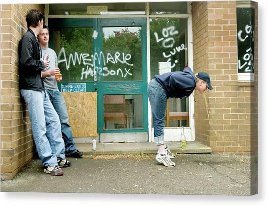 Graffiti Walls Canvas Print - Teenager Vomiting by Jim Varney/science Photo Library