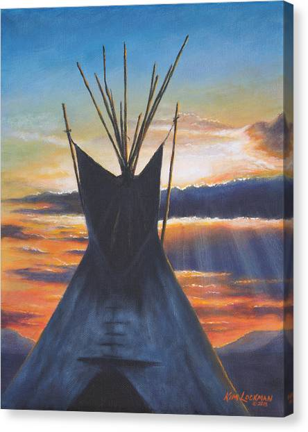 Teepee At Sunset Part 1 Canvas Print