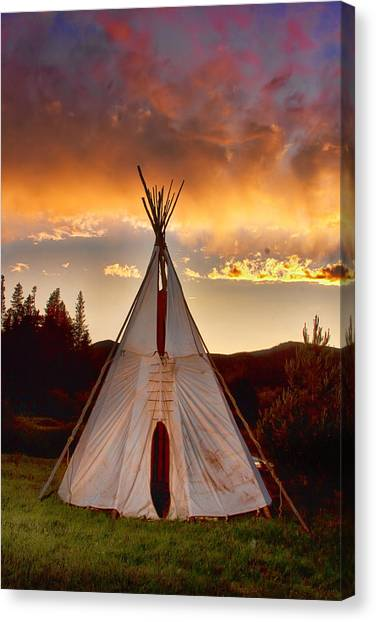 Teepee Sunset Portrait Canvas Print by James BO  Insogna