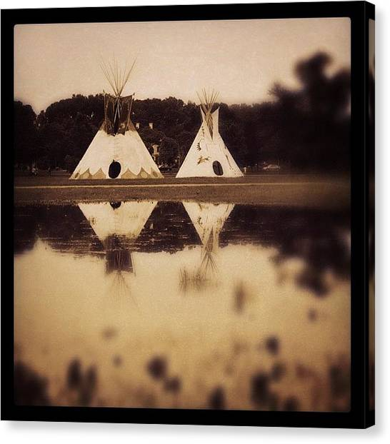 Indian Canvas Print - Teepees In Town  by Heidi Hermes