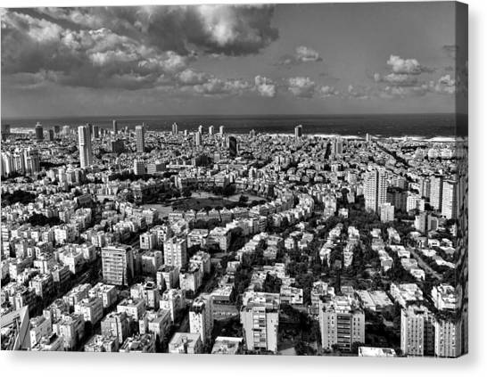 Tel Aviv Center Black And White Canvas Print