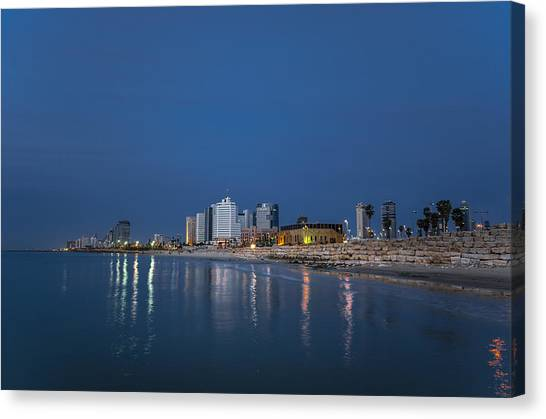 Tel Aviv The Blue Hour Canvas Print