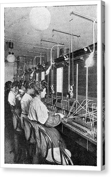 Headphones Canvas Print - Telephone Operators by Science Photo Library