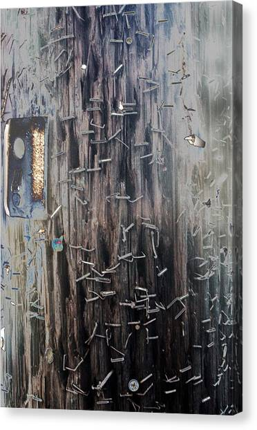 Telephone Pole With Scars From The Past Canvas Print