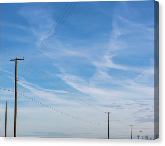 Telephone Poles And Power Lines In A Canvas Print