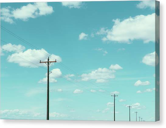 Telephone Poles, Power Lines And Cloudy Canvas Print