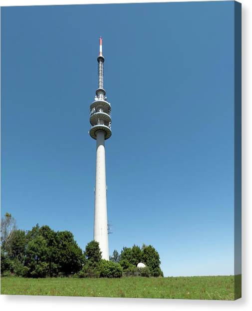 Tv Tower Canvas Print - Television Tower by Daniel Sambraus/science Photo Library
