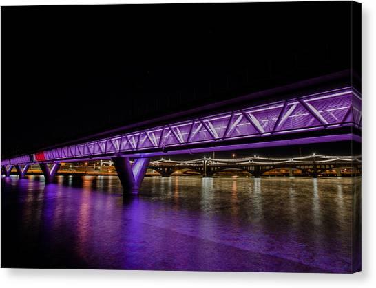 Arizona State University Asu Tempe Canvas Print - Tempe Lightrail Bridge by Jennifer BauerLeffler