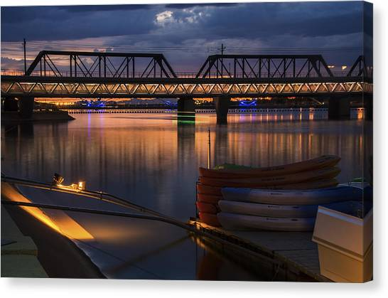 Light Rail Canvas Print - Tempe Town Lake Canoes At Sunset by Dave Dilli