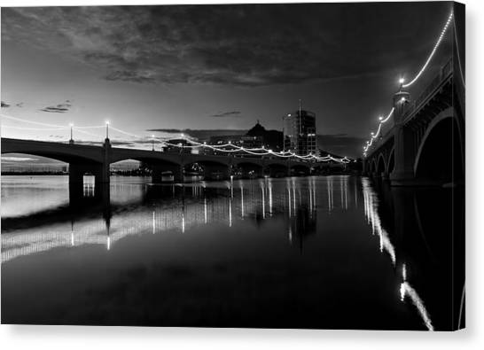Tempe Town Lake In Black And White Canvas Print