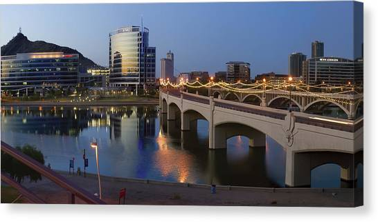 Pac 12 Canvas Print - Tempe Town Lake Pano by Dave Dilli
