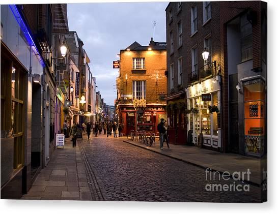 Temple Bar District In Dublin At Night Canvas Print