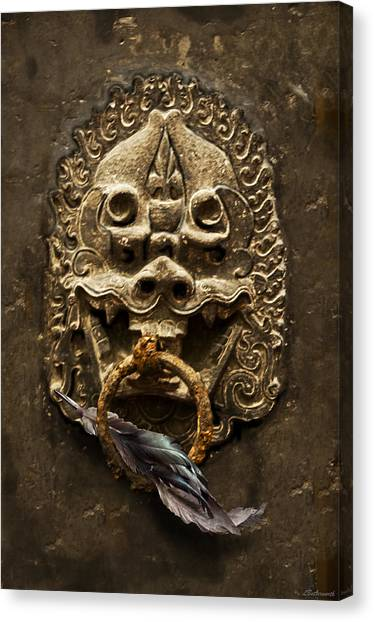 Temple Guardian With Feather Canvas Print by Larry Butterworth