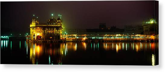 Golden Temple Canvas Print - Temple Lit Up At Night, Golden Temple by Panoramic Images