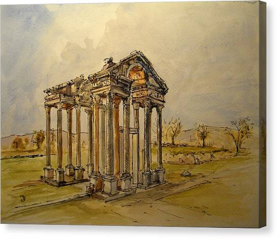 Greek Art Canvas Print - Temple Of Aphrodite by Juan  Bosco