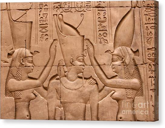 Wadjet Canvas Print - Temple Of Horus Relief by Stephen & Donna O'Meara